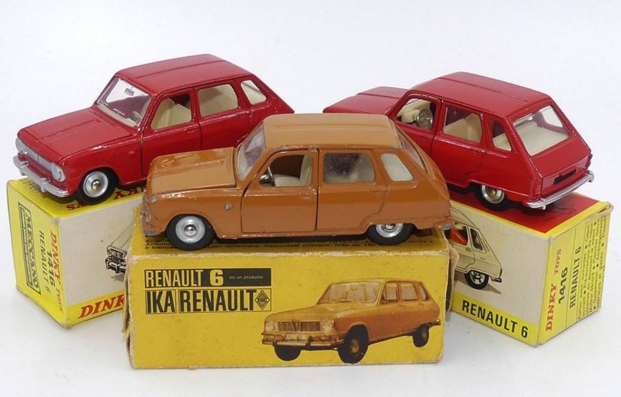 Dinky Toys Renault 6 variantes de couleur