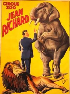 affiche cirque Jean Richard avec l'éléphant