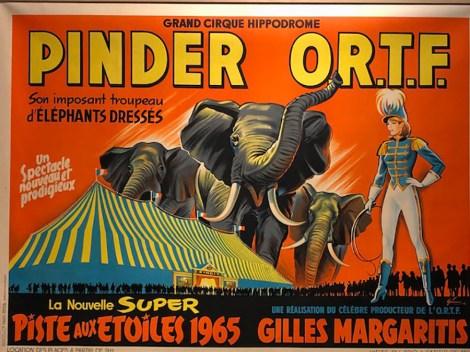affiche cirque Pinder avec les éléphants