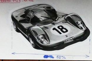 Solido dessin original à l'encre de Chine signé Jean Blanche : Ferrari 512 S
