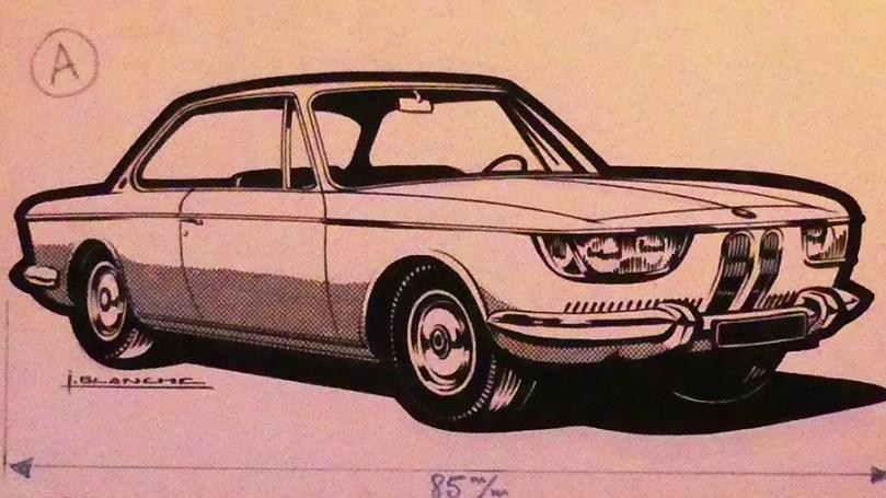 Solido dessin original à l'encre de Chine signé Jean Blanche BMW 2000CS