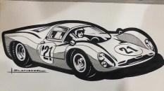 Solido dessin original à l'encre de Chine signé Jean Blanche Ferrari 330P3