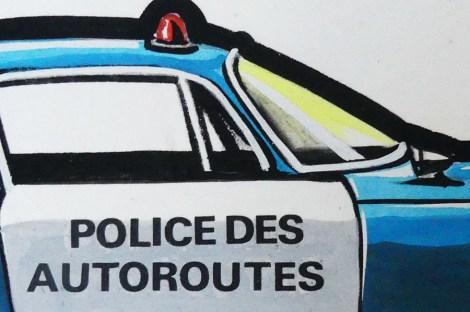 Solido gouache originale signé Jean Blanche Alfa Romeo GTZ tubolare police des autoroutes(détails)