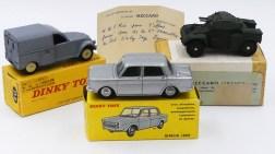 Dinky Toys Simca 1000 essai de couleur, Citroën 2cv camionnette et AML Panhard (cadeau de monsieur Rio)