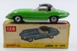 Dinky Toys Inde Jaguar Type E cabriolet avec chassis Dinky Toys India) et avec jantes en acier chromé d'origine anglaise