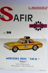 Mercury: affichette éditée par Safir en langue française pour promouvoir la gamme (Mercedes 230SL Safari)