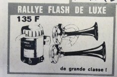 Publicité pour Klaxons rallye Flash