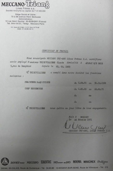 Certificat de travail de Claude Thibivilliers