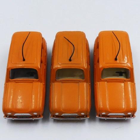 Dinky Toys Renault 4L autoroutes les 3 variantes d'intérieur et de chassis