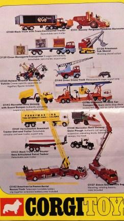 catalogue Corgi Toys: des modèles US Mack, American LaFrance, Ford cotoient des Scammell anglais mais aussi des Mercedes allemands