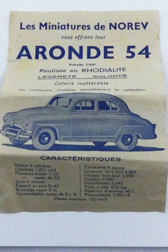 Norev Simca Aronde et sa rare fiche technique