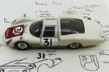 Dinky Toys Porsche Carrera 6 longue Le Mans 1966 prototype en PLASTIQUE avec les croquis de Claude Thibivilliers