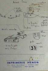 Dinky Toys Porsche Carrera 6 longue Le Mans 1966 (les croquis de Claude Thibivilliers sur papier à en-tête Imprimerie Henon)