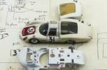 Dinky Toys Porsche Carrera 6 longue Le Mans 1966 (les croquis de Claude Thibivilliers sur papier à en-tête Imprimerie Henon et le chassis avec les indications de modifications