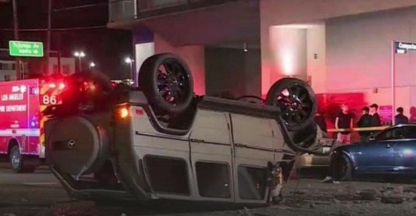 Mercedes-Benz G-Wagon SUV Flies Out Of 3-Storey Garage And Landed On Its Roof,Driver Survives