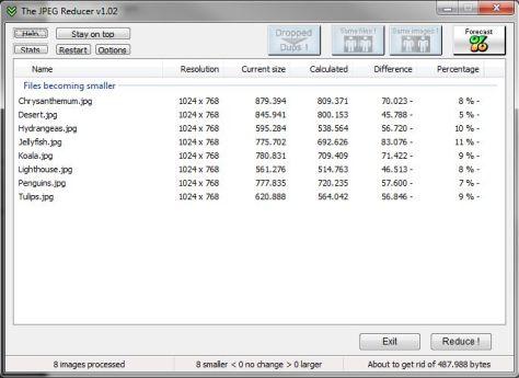 The JPEG reducer screenshot