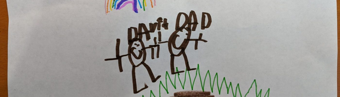 Drawing from 5 year old son David; drawing of Dad and David watching the rainbows