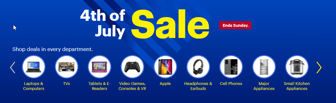 Best Buy 4th of July Sale Banner from site