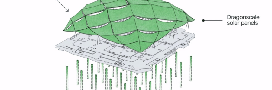 Dragon Scale Solar Panels and Geothermal to Power Google Operations