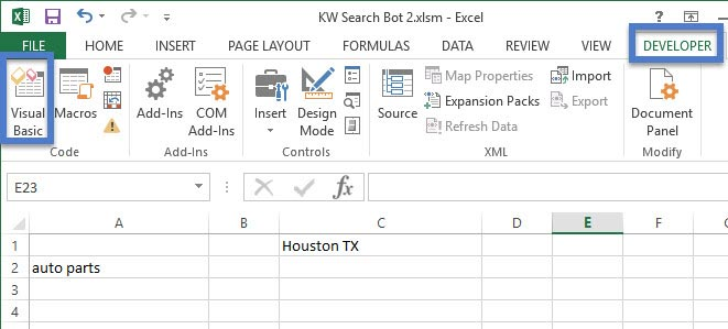 Excel workbook with Developer tab selected