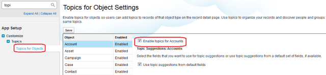 Enable Topics for Objects