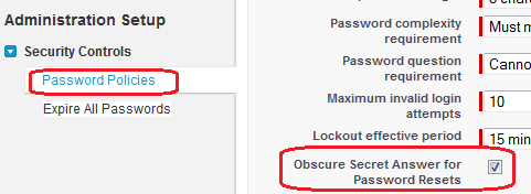 Enable Obscure Secret Answer for Password Resets