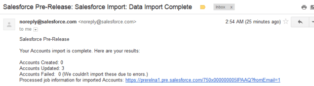 Data Import Complete email notification
