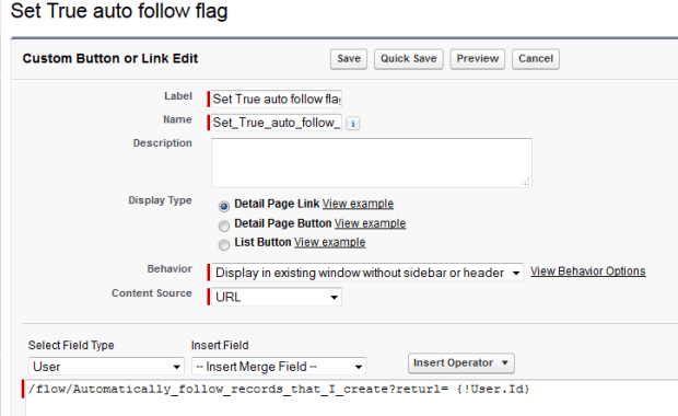 Button on User to fire Flow