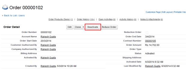 Deactivate Orders