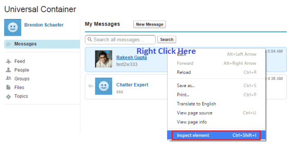 Select Inspect Element for a Chatter Conversation