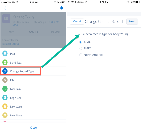 Change Record Types in Salesforce1