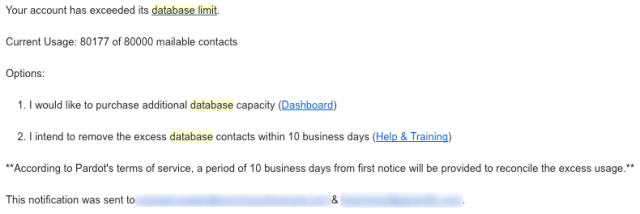 Pardot Account has exceeded current database limit