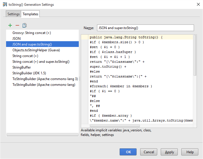 intellij idea tostring templates for json output automation rhapsody
