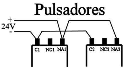 Conexión pulsadores emergencia