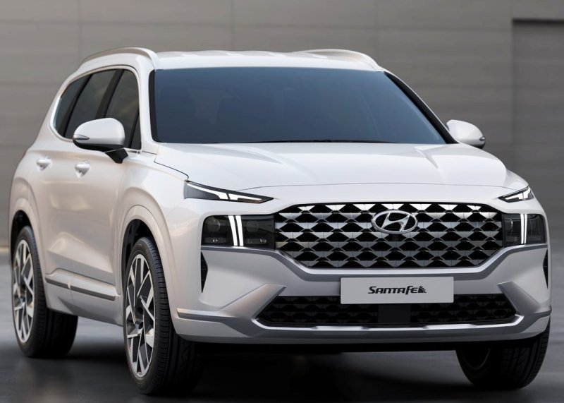 2021 Hyundai Santa Fe Redesign Front Angle With New massive Grille and Headlights