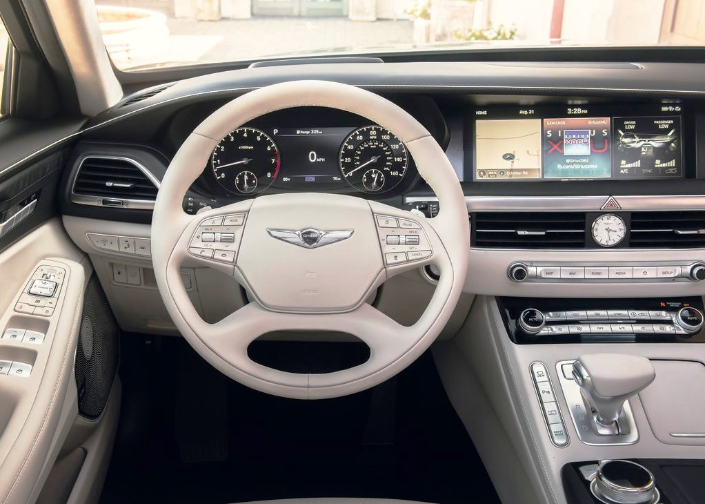 2021 Genesis G90 Interior White Steer and Dashboard