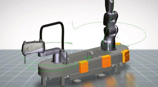 3D 시뮬레이션은 로봇 및 CNC와 같은 동기화된 하위 시스템과 결합된 모든 셔틀의 동작을 보여준다.