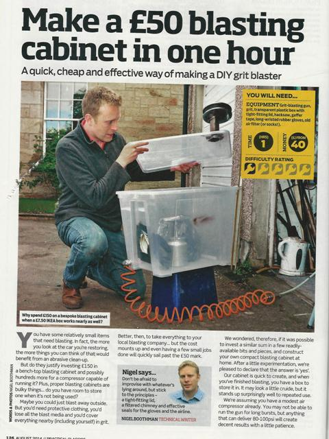 Home Made Blast Cabinet from August 2014 Practical Classics (copyright Practical Classics)