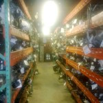 Accessories on racks in warehouse