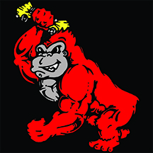 Auto Parts of Shelby red gorilla holding crushed yellow car in front of black background