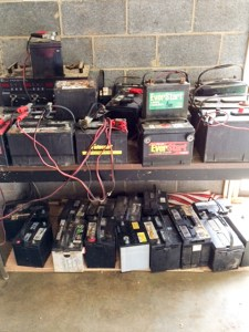 Used Batteries Being Tested at Auto Parts U Pull and Scrap Metal