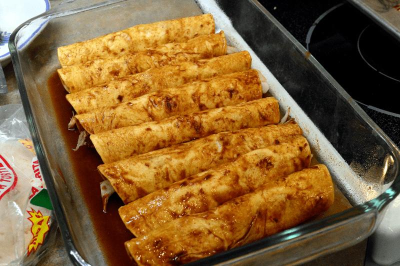 grannie geek, rolled turkey enchiladas