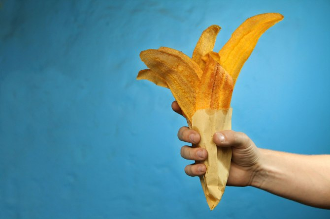 Plantain chips from the streets of Bogota for $1,200 pesos (63 cents in USD) Photo: Alex Washburn