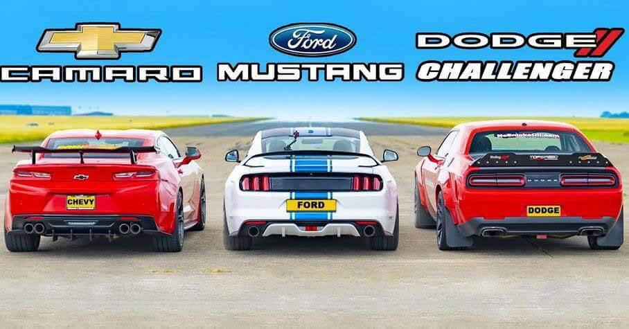 Ford Mustang против Chevrolet Camaro и Dodge Challenger - Мотор