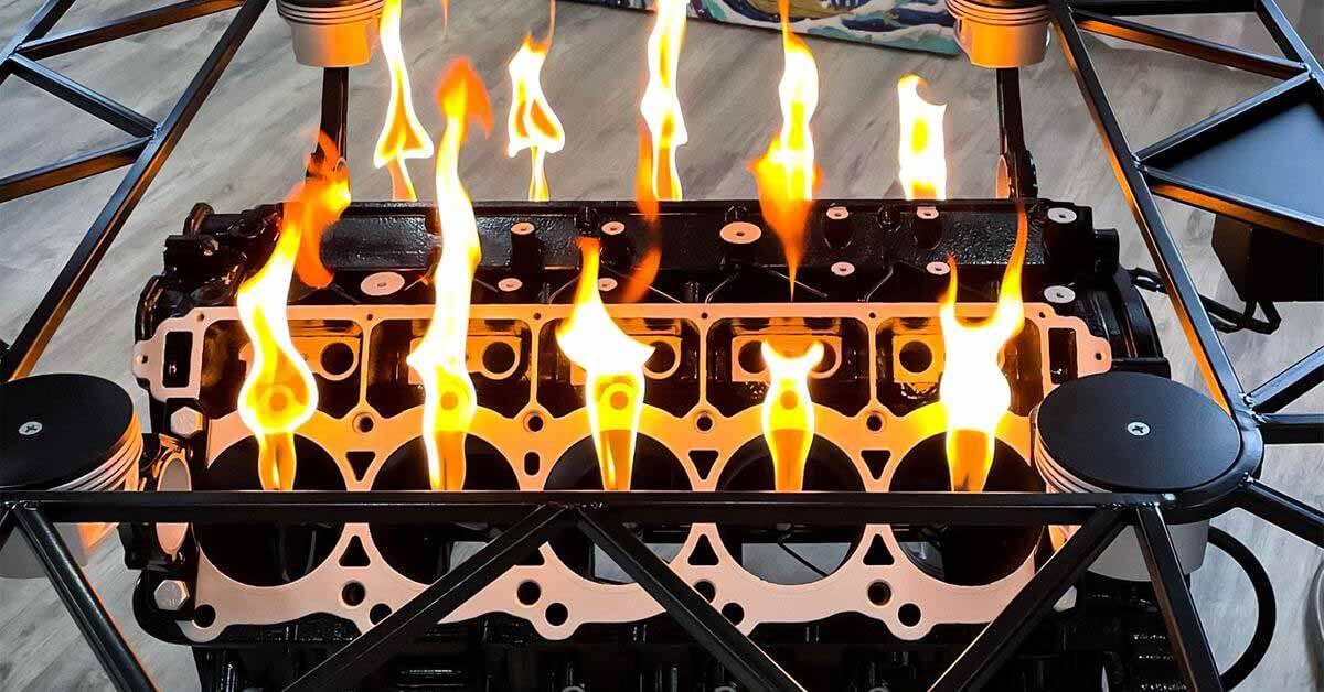 Двигатель 20-летнего Dodge Viper превратился в огнедышащий гриль-стол - Motor