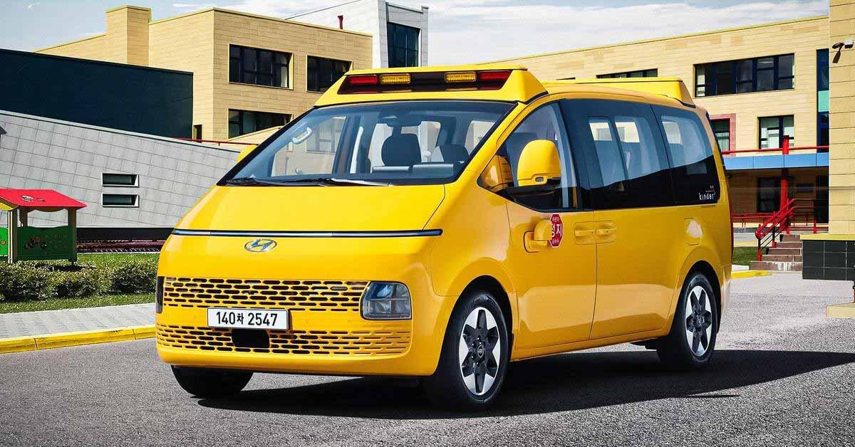 Футуристический минивэн Hyundai Staria превращается в школьный автобус - Motor