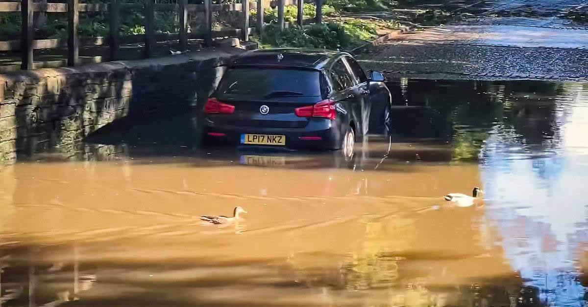 водители на полной скорости топят машины в глубокой луже - Мотор