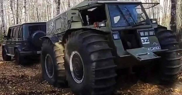 Видео: новый «Гелик» сражался с вездеходом «Шерп» в перетягивании каната