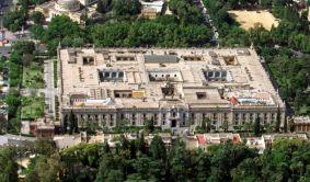 Vista aérea del edificio de la Universidad de Sevilla, en el histórico edificio de la Fábrica de Tabacos, en la capital sevillana