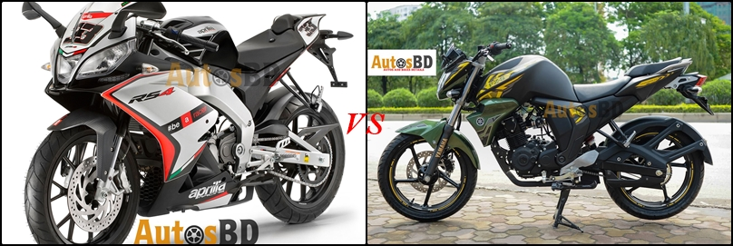 Comparison Aprilia RS4 125 vs Yamaha FZS Fi Matte Green